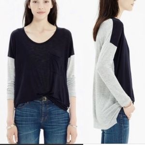 Madewell Scoopneck Roster Colorblock Tunic Tee Top